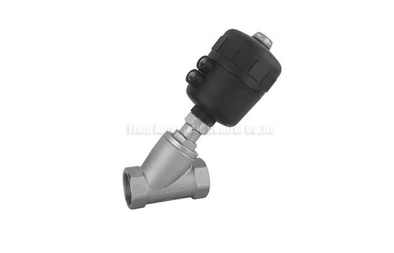 Angle Seat Piston Valve DN10~DN50 Stainless Steel Body With Plastic Actuator