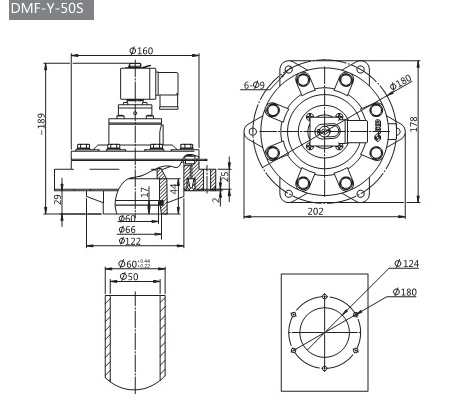 DMF-Y Series In Line Electromagnetic Pulse Valve , 0.5Mpa Diaphragm Valve