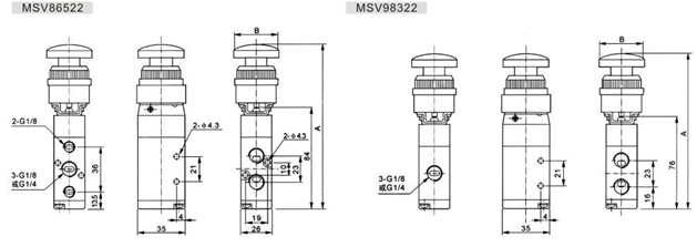 "Two Position Three Way MSV Mechanical Control Valve G1/4"" 0.8Mpa Pneumatic Machine Control Valve"