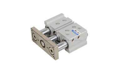 China Compact 3 Shaft Double Acting Pneumatic Air Cylinder Sliding Bearing Type With Guided Rod Plate factory